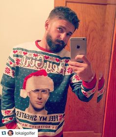 """#Repost @lokaigolfer ・・・ 2 days away from the annual """" It's Gonna Get Ugly"""" Christmas Party!  #christmas #birthday #party #december #colorado #uglychristmassweater #sweaterweather #ryangosling #feelmysweater #iphone #photographer #selfie #happy #heygirl #lokai #beard #tbt #wannagetoutofhere"""