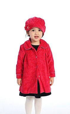 Girls Coat Style RED Cotton Velvet Coat with Matching Hat Red Flower Girl Dresses, Stylish Coat, Dresses For Less, Velvet Jacket, Cotton Velvet, Winter Hats, Leather Jacket, Eyes, Store