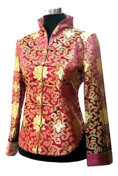 Periwing Graceful Burgundy Satin Gilt Mum Straight Collar Chinese Jacket for Ladies - iDreamMart.com