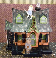 My Hallowwen House with lots of Spooky Magnolia stamps, Graphic 45 An Eerie Tale DP, SVG Cuts Haunted Forest http://julieprice3.wordpress.com/2014/09/01/when-all-the-spooks-come-out-to-play/