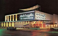 Carl Hoppl's, Long Island's Most Modern Restaurant, 100 Sunrise Highway, Baldwin, NY Long Island Restaurants, York Restaurants, Today In History, Local History, Long Island Ny, Modern Restaurant, Commercial Architecture, Futuristic Design, Googie
