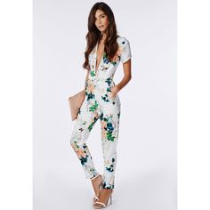 8fd187bfaab Missguided Floral Plunge Jumpsuit White ( 90) ❤ liked on Polyvore  Pantalones Floreados