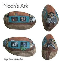 Noah's Ark painted on a large rock