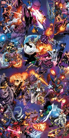 "astonishingx: "" X-Men 50th Anniversary Poster by Walt Simonson, David Lopez, Art Adams, Nick Bradshaw, Neal Adams, Phil Noto, Chris Bachalo, Whilce Portacio, Salvador Larroca, Stuart Immonen, Joe Madureira, and Clay Mann """