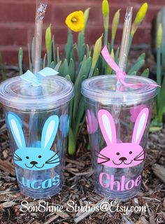 Personalized Easter Rabbit Kids Tumbler  12 oz. by sonshinestudios