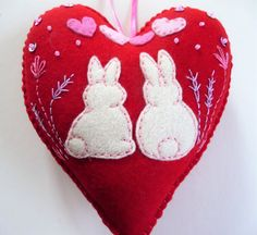 Bunny Felt Heart Ornament Rabbit Felt Heart by heartfeltwhimsy