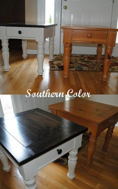 Nice dark walnut stain on top contrasted with white bottoms. I like these colours for the bedroom furniture. Matches the dark wood of the window, door, mirror, and lam bases.