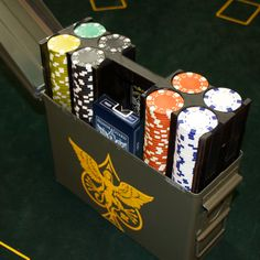 A full 300 chip poker set and two custom decks, all comfortably nestled in an authentic .30 M19A1 ammo case.