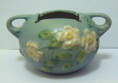 Vintage 1940s Roseville WHITE ROSE pottery Vase Bowl Bought ebay $35. Sold vintage show $55. Total now $6,640