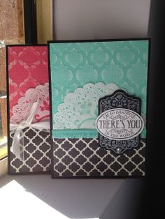 Linda Higgins:  My US convention swaps revamped :-)  Chalk Talk stamp set, core'dinations cardstock and Modern Medley DSP