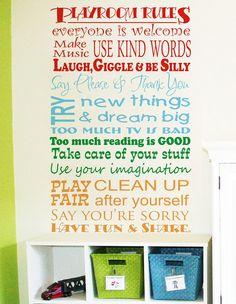Childrens Decor Playroom Rules Vinyl Wall Art - Playroom Vinyl Wall Decals - Childrens Playroom Wall Decals by VillageVinePress on Etsy https://www.etsy.com/listing/116865789/childrens-decor-playroom-rules-vinyl