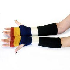 Striped Multicolor  arm warmers fingerless gloves by WearMeUp, $20.50