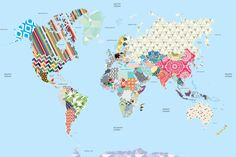 Patchwork Kids Map Mural, custom made to suit your wall size by the UK's No.1 for murals. Custom design service and express delivery available.
