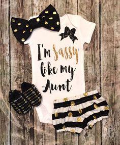 I'm Sassy Like My Aunt Black and Gold Baby Girl Onesie Sassy Onesies…