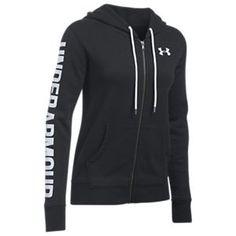 Under Armour Favorite Fleece Sleeve Logo Full-Zip Hoodie for Ladies - Black/White - L