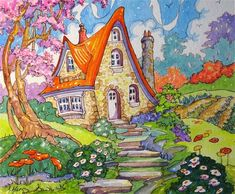 """Daily Paintworks - """"A Little Cottage Spring Storybook Cottage Series"""" - Original Fine Art for Sale - © Alida Akers"""