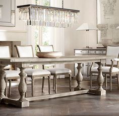 RH's 17th C. Priory Rectangular Dining Table:Popularized during the Middle Ages, the trestle is one of the oldest known dining table designs. Our version is scaled down for smaller spaces with a long top and substantial baluster legs that recall the tables found in 17th-century monasteries.
