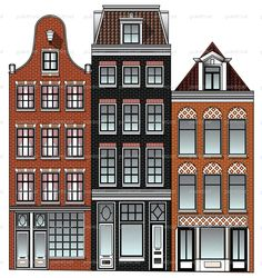 Three Dutch Renaissance canal houses from Amsterdam city