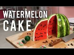 How To Make A WATERMELON out of CAKE! PINK VELVET cake with BUTTERCREAM and FONDANT! - YouTube