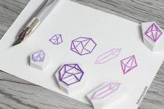 geometric stamp diamond rubber stamp diamond by byhoneysuckle, $14.00
