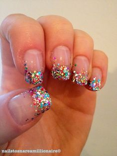 Glitter Tipped Nails Great Idea For New Years by deann
