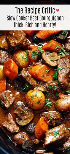 Dec 2019 - Slow Cooker Beef Bourguignon has crazy tender melt in your mouth beef and hearty veggies slow cooked to perfection in a rich sauce. Â This meal is comforting and perfect for the cold months ahead! Crockpot Dishes, Crock Pot Slow Cooker, Crock Pot Cooking, Beef Dishes, Crock Pots, Slow Cooker Dinners, Cooking Wine, The Recipe Critic Slow Cooker, Beef Bourguignon Slow Cooker