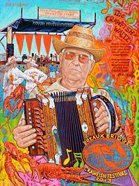 Lafayette artist Tony Bernard has revealed the official artwork for the annual Breaux Bridge Crawfish Festival! - a tribute to legendary Cajun musician Octa Clark. Louisiana Crawfish, Louisiana Swamp, Louisiana History, New Orleans Louisiana, Breaux Bridge Crawfish Festival, Lobster Fest, Street Dance, Festival Posters, Food Festival