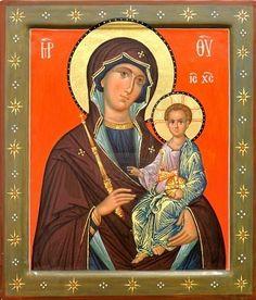 Het pictogram van een moeder van God (Maria) en kind (Jezus Christus) op verguldsel hout