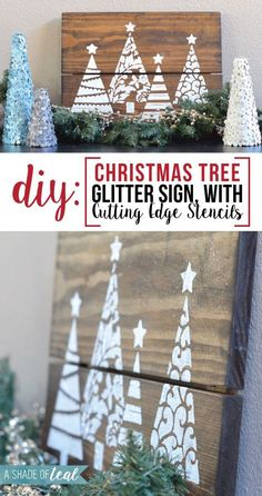 DIY stenciled wood art using the Fancy Christmas Tree Stencil from Cutting Edge Stencils. http://www.cuttingedgestencils.com/fancy-christmas-trees-craft-diy-holiday-craft-stencils.html DIY- Christmas Tree Glitter Sign, with Cutting Edge Stencils   A Shade Of Teal
