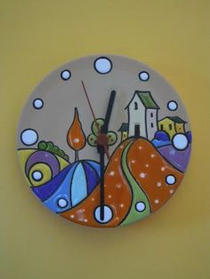 ceramics as a profession: Bright colors for the landscapes of these watches in cuerda seca. Circle Painting, Clock Painting, Clock Art, Diy Clock, Pottery Painting, Hand Painted Pottery, Ceramic Pottery, Traditional Clocks, Glue Art