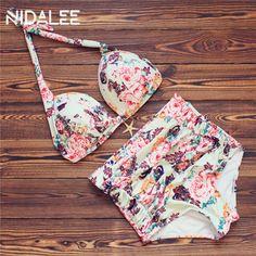 Plus Size Bikini High Waist Bikini Set Printed Plus Size Swimwear Female 2017 Swimsuit Plus Size Bikinis Women Bathing Suits 3XL