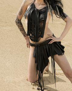 Bizarre Boudoir Asymmetrical Belted Leather Buckle Tribal Fusion Bohemian Warrior Goddess Pixie Skirt with Fringe