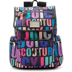 Juicy Couture Multi color logo back back Juicy Couture Multi color logo back back. Magnetic and drawstring top closure.  Interior one zippered 1 main and one slide in section. Exterior 4 zippered compartments goldtone logo plate. Please choose which one you want as the color varies as the pattern. Price per backpack. Juicy Couture Bags Backpacks