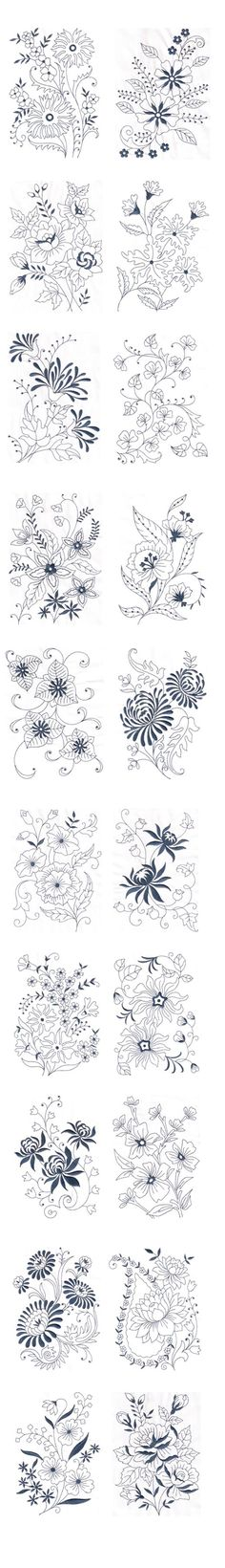 Amazing Emotions - Vintage Florals 01 Machine Embroidery Designs --- Vintage Florals 01 These fabulous vintage floral designs can add supreme beauty to your products like bed linen, bath linen, kitchen linen, curtains and even dresses. You can notice the variety in the floral designs For more details visit www.embroideryemotions.com #Woodburningpatterns