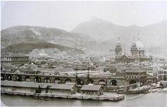 Cais dos Mineiros, Candelária e centro do Rio, fotografados da ilha das Cobras - Marc Ferrez, 1885