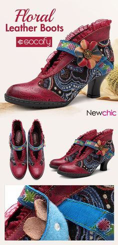 2c15ec29a11 SOCOFY Floral Retro Heel Genuine Leather Splicing Hook Loop Ankle  Comfortable Boots is hot-sale. Come to NewChic to buy womens boots online.