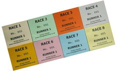 Betting tote tickets for Race Night fundraisers...good to pull from for Ascot betting tote ticket which research does not show...script says they bet on horse 7 and we know it isn't the first race, probably 3 or 4 at least...small prop so details may not be seen clearly...multiple for run of show.