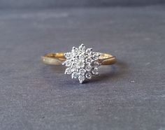 Etsy :: Your place to buy and sell all things handmade - Cluster Diamond Engagement Band Ring, Gold Diamond Ring, Floral Cluster Engagement Ring - Gold Band Ring, Ring Verlobung, Gold Diamond Rings, Diamond Wedding Rings, Cluster Diamond Rings, Halo Diamond, Diamond Cluster Engagement Ring, Band Engagement Ring, Ringe Gold