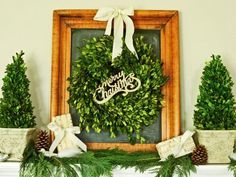 Christmas Boxwood Wreath- Why settle for plastic evergreen wreaths or natural greens that will dry out in a few weeks? Make a preserved boxwood wreath that will keep its good looks throughout the holidays & beyond. Christmas Makes, All Things Christmas, White Christmas, Christmas Crafts, Christmas Ideas, Christmas Displays, Merry Christmas, Christmas Topiary, Indoor Christmas Decorations