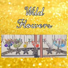 Set of 6 Flower Wine Charms Wild Flowers by WINETimeCharms on Etsy