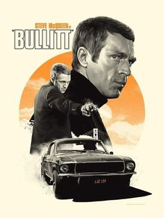 Steve McQueen Actor With Mustang Bullit 4x6