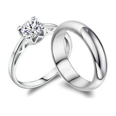 Engraved His and Hers 1.65 Carat Diamond Engagement Rings ($47) ❤ liked on Polyvore featuring jewelry, rings, engraved rings, engraved engagement rings, diamond jewellery, diamond engagement wedding rings and engraved jewelry