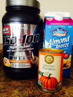 Pumpkin Pie Protein Shake 1 scoop Cinnamon Bun Dymatize ISO 100, 1/2 cup Unsweetened Almond Milk, 1 tablespoon organic pumpkin, ice and a dash of water for consistency. Blend well. Sprinkle pumpkin pie spice on top! Yum!