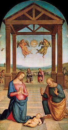 Nativity (Il Presepio) - Pietro Perugino.  1506-10.  Oil on panel.  263 x 147 cm.  Galleria Nazionale dell'Umbria, Perugia, Italy.