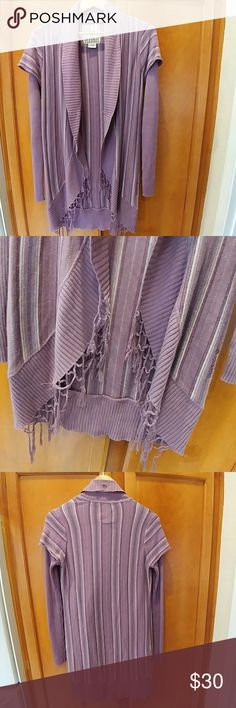 Billabong cardigan This cute purple striped Billabong cardigan with fringe around the bottom front.  It has a layered look. It is 60% cotton and 40% viscose. Billabong Sweaters Cardigans