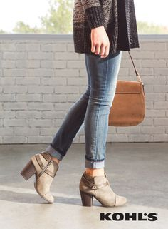 The key to wearing booties is knowing how to style your jeans the right way. Ankle-height booties go perfectly with a pair of cuffed skinny jeans. Featured product includes: LC Lauren Conrad slit ankle boots and Rock & Republic Berlin faded skinny jeans. Find your fall style at Kohl's.