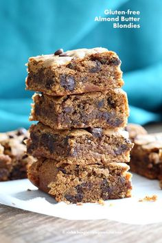 Gluten free Almond Butter Blondies with Chocolate Chunks and Chocolate Chips. Gluten Free Blondies Vegan Blonde Brownies. Soy-free Palm oil free Recipe.