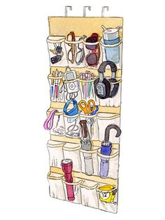 Organizing Ideas - Home Organization Ideas -  Keep the basics you reach for as you head out — keys, umbrella, a dog leash — in a clear over-the-door shoe rack. Or think of it as a more-organized junk drawer, where you can stash batteries, rubber bands, or flashlights