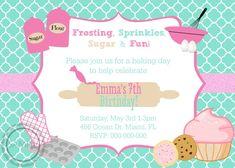 Baking Birthday Parties, Baking Party, Birthday Party Decorations, Birthday Ideas, 12th Birthday, Cupcake Decorating Party, Sprinkles, Party Invitations Kids, Etsy