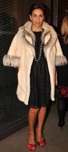 Hello fur! Dolce dress with Christian Louboutin red silk shoes. Lanvin pearl necklace.